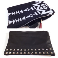 Tribal, Studded Wool and Leather Clutch, Black, white, silver, Pendleton