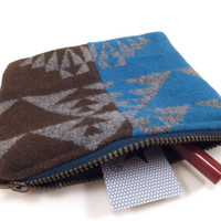 Teal Blue and brown clutch, Pendleton Wool, zipper pouch, wallet, tribal, geometric