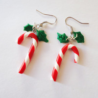 CHRISTMAS EARRINGS  Candy Canes and Mistletoes by FrozenNote