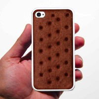 Ice Cream sandwich Iphone 4 and 4s Case White silicon Rubber