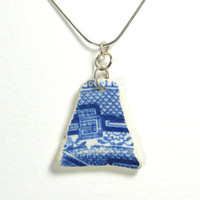 Blue and White English Beach Pottery Necklace Pendant