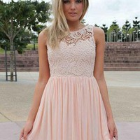 Light Pink Dress with Sheer Lace Top&amp;Tulle Pleated Skirt