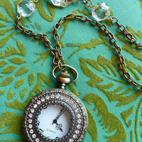 Long Antiqued Brass Working Pocket Watch Necklace with Rhinestone Encrusted Case and Vintage Chandelier Crystals on Chain // Steampunk Boho