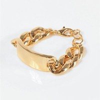 I.D. Name Bracelet - Gold at Necessary Clothing