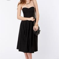 LULUS Exclusive Ballroom Lessons Strapless Black Midi Dress
