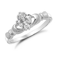 Sterling Silver Heart Shaped CZ Claddagh Ring Sizes 4 to 9 , 5