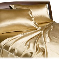 Divatex Home Fashions Royal Opulence Satin Full Sheet Set, Gold