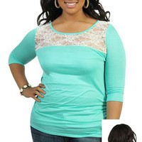 plus size three quarter sleeve tunic top with lace shoulders - debshops.com