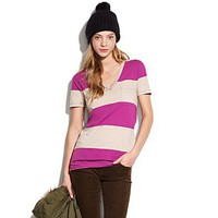 Women&#x27;s TEES &amp; TANKS - tees - Striped V-Neck Pocket Tee - Madewell