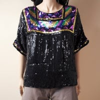 tribal sequin slouch top s/m by persephonevintage on Etsy
