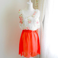 Spring Romantic chiffon flowers blosom tunic dress tank sleeveless melon and white floral
