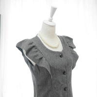 Romantic Preppy Fall winter wool blend Gray Apron Dress - button front ruffles wing shoulder apron