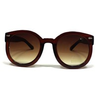 Fashion Vintage Round Thick Horn Style Sunglasses: Brown