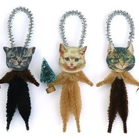 Christmas Cats Chenille Ornaments Cat by oldworldprimitives