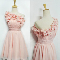 Custom A-line One-shoulder Sleeveless Short/Mini Chiffon Bridesmaid Dress With Flowers Free Shipping