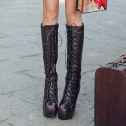 European Street Fashion Thigh Boots Black : Wholesaleclothing4u.com