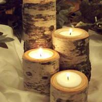 Rustic Candle Holder set of 4. Wedding Decor. Birch Tealight Candle Holder
