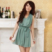 Lovely Korean Japan Style Fashion Chiffon Spring One Piece Dress SZ S Green