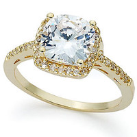 B. Brilliant 18k Gold Over Sterling Silver Ring, Cushion-Cut Cubic Zirconia Ring (3-1/3 ct. t.w.) - Rings - Jewelry & Watches - Macy's