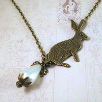 Antiqued Bronze Bunny Rabbit Neckla.. on Luulla