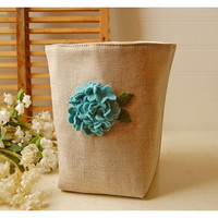 box linen Blue Hydrangea flower Box Wool felt Oatmeal by hoganfe