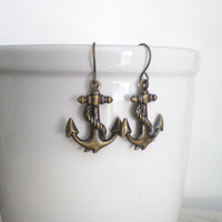 Anchor Earrings. Nautical Wedding. Navy Wife Jewelry. Brass Jewelry. Stocking Stuffer.