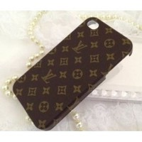 Louis Vuitton Designer Leather Cover Case for iPhone4/4s Monogram Brown iPhone 4/4s LV