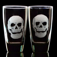 Tall skull tumblers , black glass hand engraved set of two custom barware glassware gifts for him