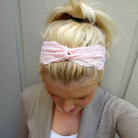 Pretty pink twist stretch lace headband feminine/classic/romantic