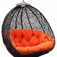 Amazon.com: Estella - Dual Sitting Outdoor Wicker Swing Chair/ Porch Hanging Chair - DL024BK: Home & Kitchen