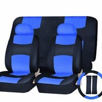 Universal Car Seat Cover PU Leather Front & Rear & Steering Wheel Set Blue / Black SC-165BL