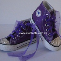 Purple Converse Shoes Featuring Swarovski Crystals COO24
