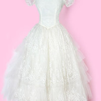 1950's Tea Length Lace Wedding Dress vintage wedding dress tea length :
