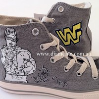 Hand Painted Jon Cena On Gray Converse Shoes COP34