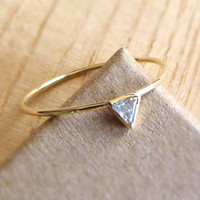 Diamond Triangle Engagement Ring 14k Gold