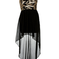 Black/Gold Paisley Sequin Strapless Mixi Dress - Clothing - desireclothing.co.uk