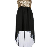 Black Strapless Sequin Mixi Dress - Clothing - desireclothing.co.uk