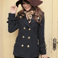 Academy Style Deep Blue Double Breasted Short Coats : Wholesaleclothing4u.com