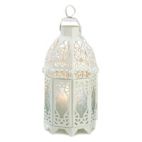 Gifts &amp; Decor Lattice Hanging Candle Holder Lantern Centerpiece, White