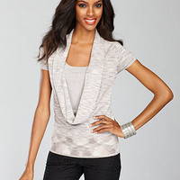 INC International Concepts Sweater, Short-Sleeve Metallic-Knit Cowl-Neck Layered - Womens Sweaters - Macy's