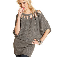 Jessica Simpson Juniors Sweater, Short Batwing Sleeve Cutout Tunic - Womens Sweaters - Macy's