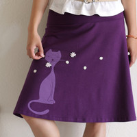 Womens Winter Fashion - Purple Cotton Skirt with Fold over adjustable waist band- Sniffing Kitty - size Medium