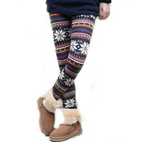 Women's Knitted Legging Tights Pants Multi-patterns Warm Soft Retro New One Size (Multi-color snowfl