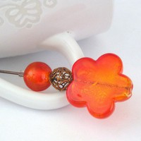 Orange murano silver foiled hat pin brooch by TyssHandmadeJewelry