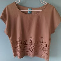 Women&#x27;s H.I.P Happening in the Present Tan Crop Top w/ Flower cutout Size Med