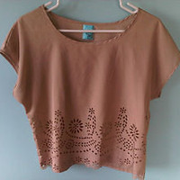 Women's H.I.P Happening in the Present Tan Crop Top w/ Flower cutout Size Med