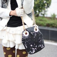 Lovely Sequins Embellished Black Owl Handbag. Weekend Bag from Letsglamup