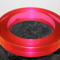 1960s HUGE Red-Pink Chunky Lucite Slice Bangle---SET of FIVE---