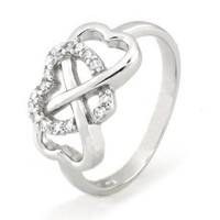 Sterling Silver Heart Infinity Ring w/ Cubic Zirconia - Available Size: 5, 5.5, 6, 6.5, 7, 7.5, 8: Jewelry: Amazon.com