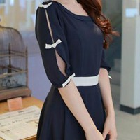 Cut Out Sleeves Feminine Flare Cutting Navy Chiffon Dress from Letsglamup